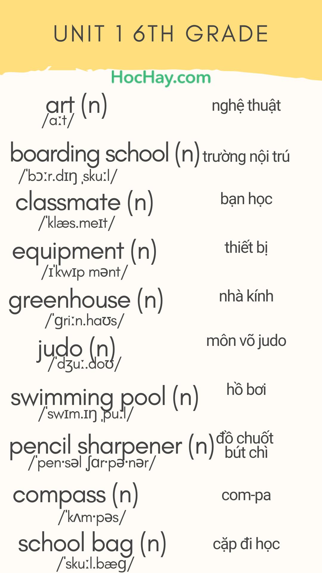 1 - 10 từ mới tiếng Anh lớp 6 Unit 1 - tải về bộ hình ảnh từ vựng tiếng Anh làm màn hình khóa - Learn English on Lockscreen