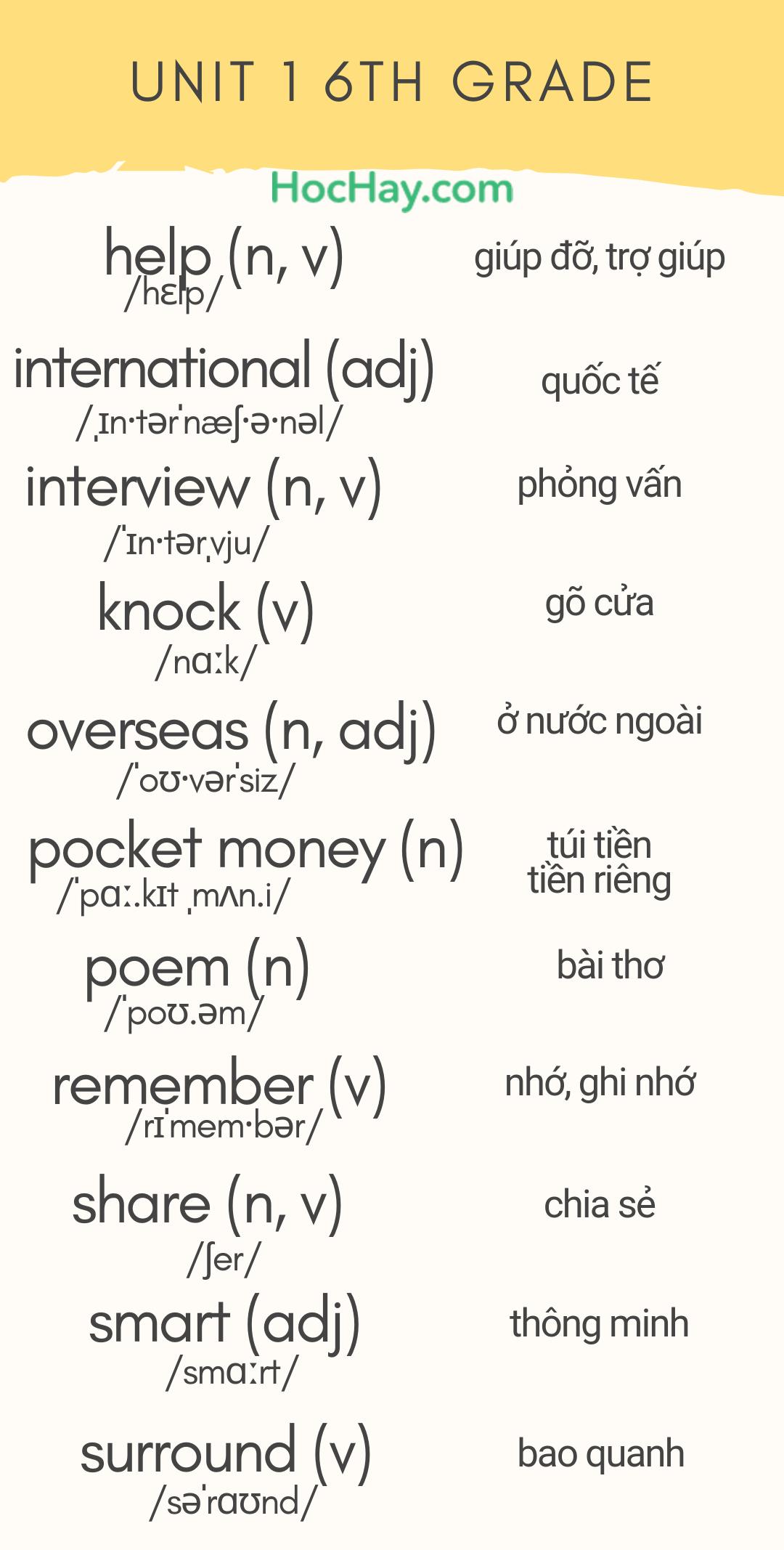 20 - 30 từ mới tiếng Anh lớp 6 Unit 1 - tải về bộ hình ảnh từ vựng tiếng Anh làm màn hình khóa - Learn English on Lockscreen
